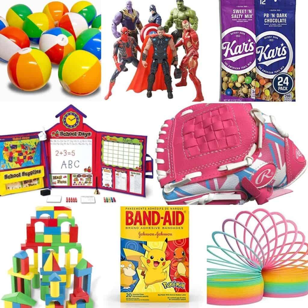 Bouncy balls, school games, girls baseball glove, fruit snacks, building blocks, band-aids, and slinky.