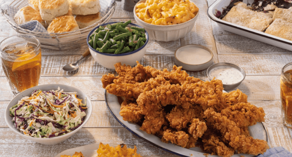Country fried chicken, coleslaw, mac and cheese, biscuits, and green beans.