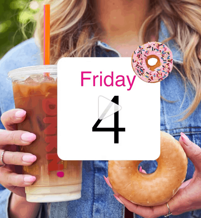 Dunk n Donuts iced drink and glazed donuts for national donut day.