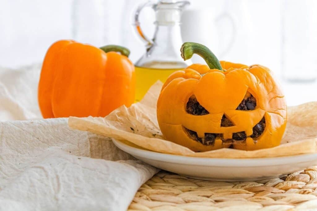 Jack-o-lantern cooked bell peppers