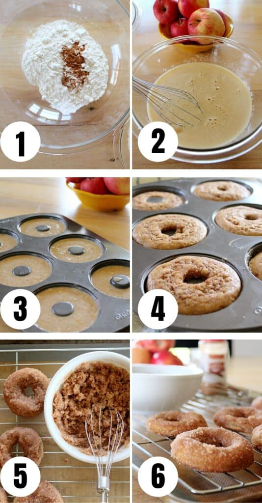 The baking process of baked apple cider donuts.