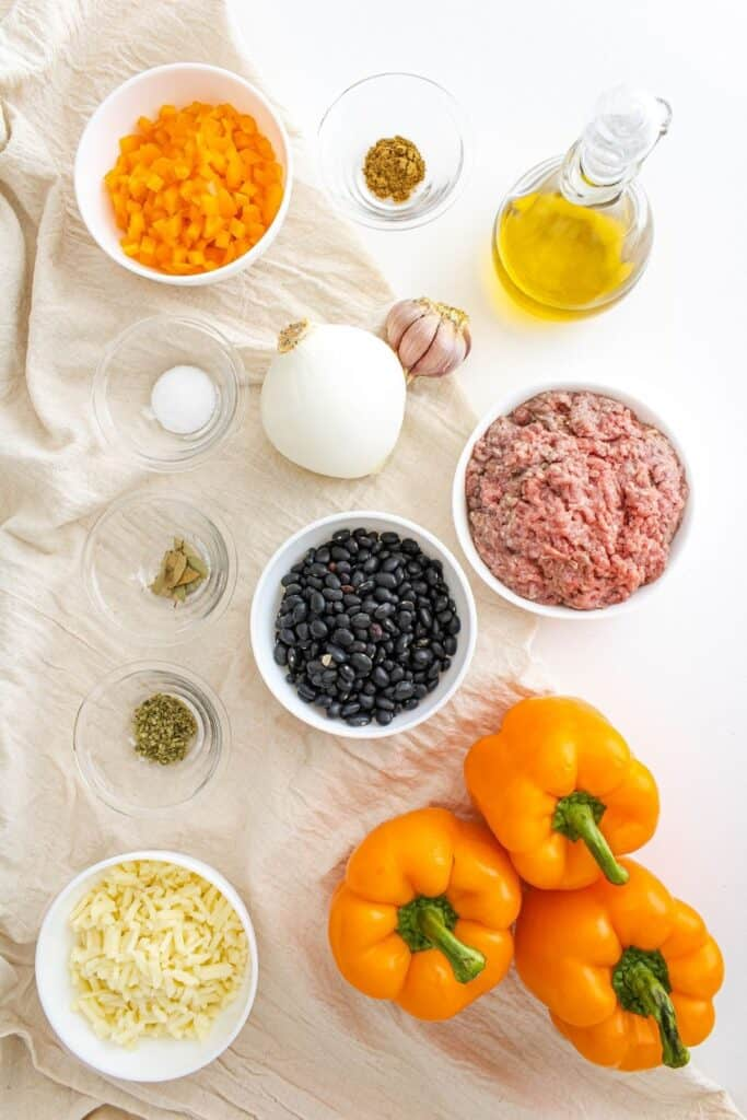 Ingredients for stuffed bell peppers.