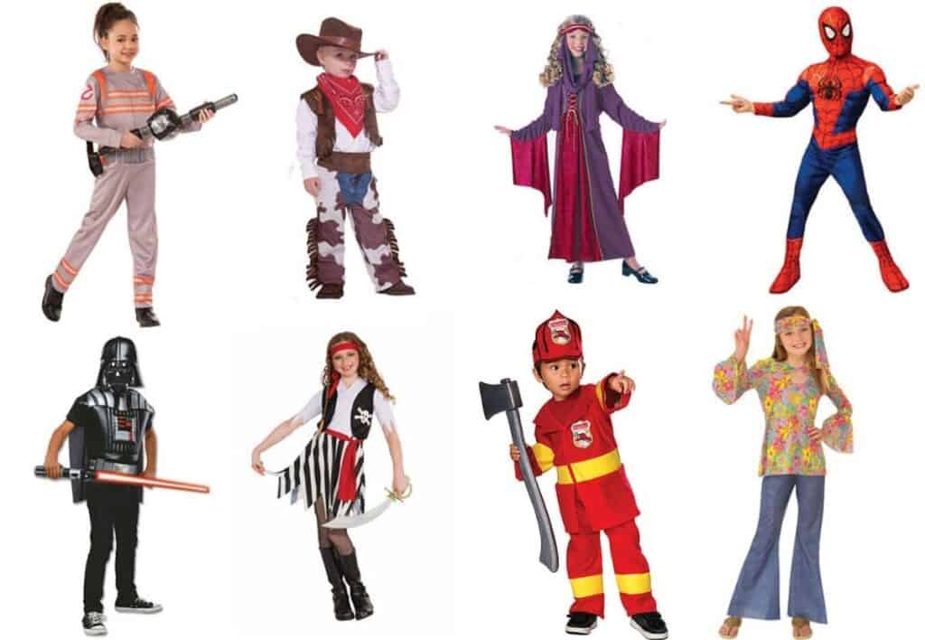 A variety of children's Halloween costumes.