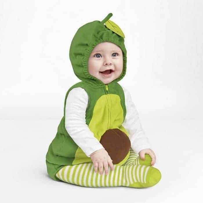 Toddler dressed in avocado Hall